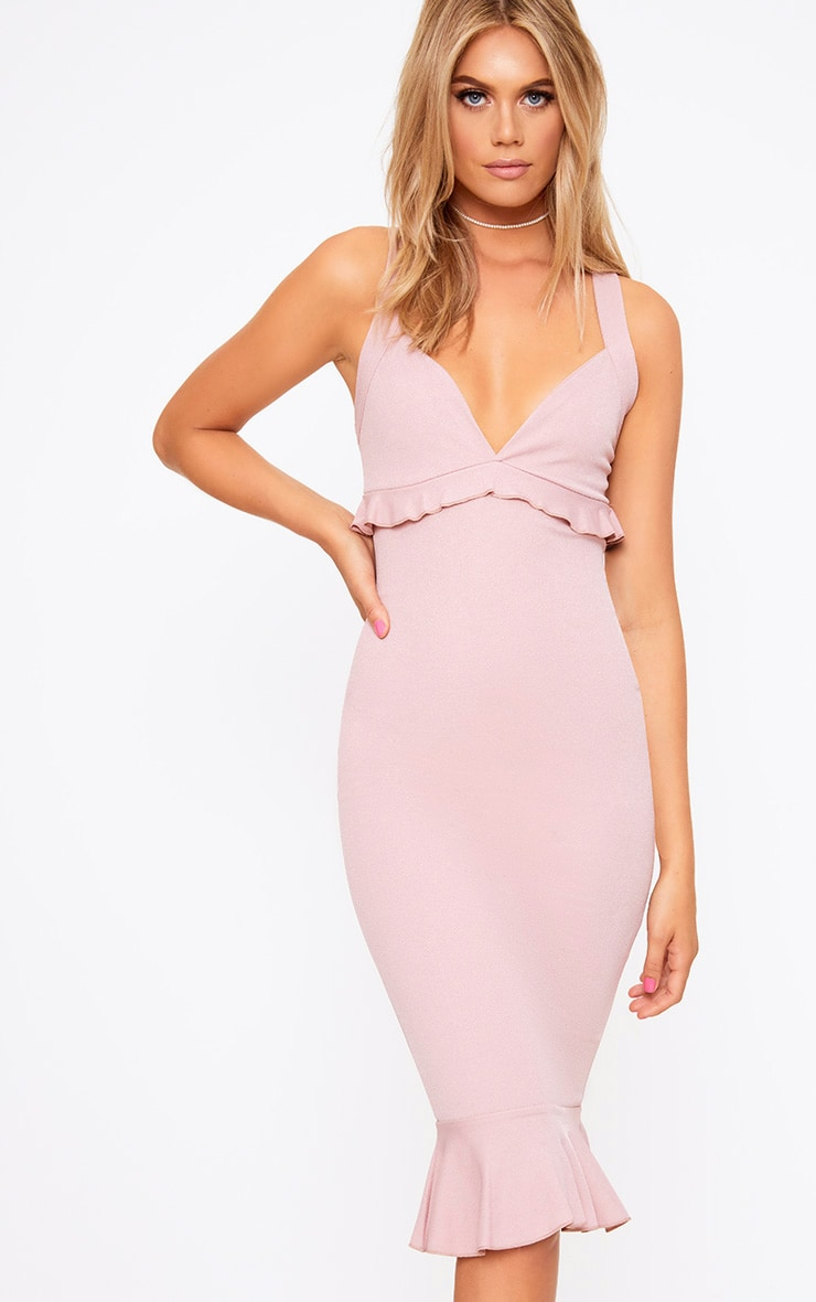Dusty Pink Frill Detail Midi Dress 1