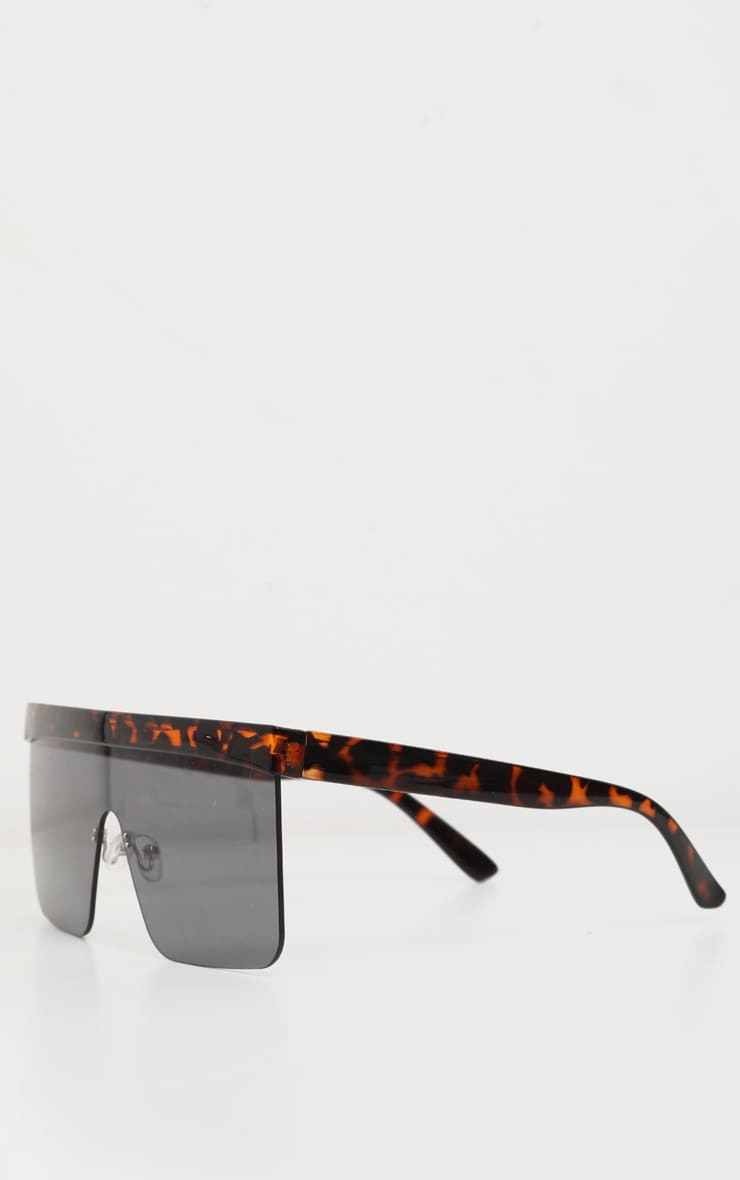 Tortoiseshell Flat Top Brow Bar Frameless Oversized Sunglasses 3