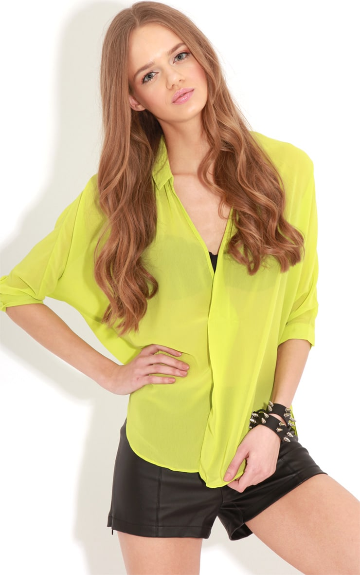 Cate Lime Sheer Wrap Front Blouse 4