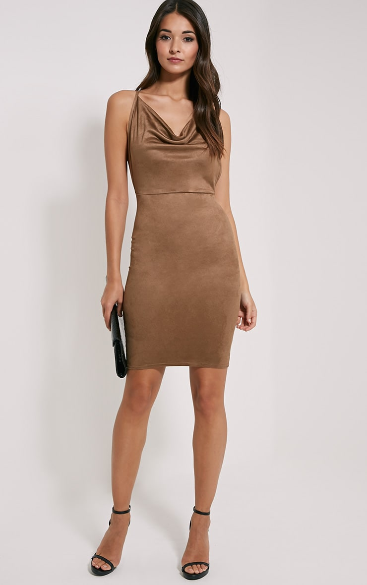 Orion Tan Faux Suede Dress 3