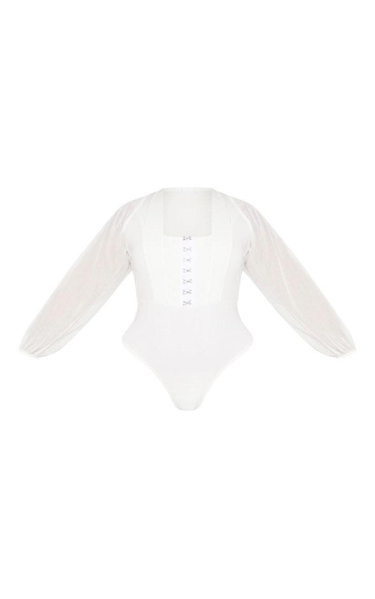 Plus White Eyelet Detail Mesh Sleeve Bodysuit 3