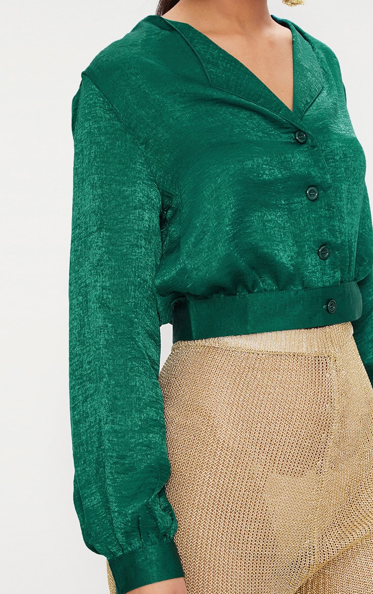 green Satin Button Front Crop Shirt  5
