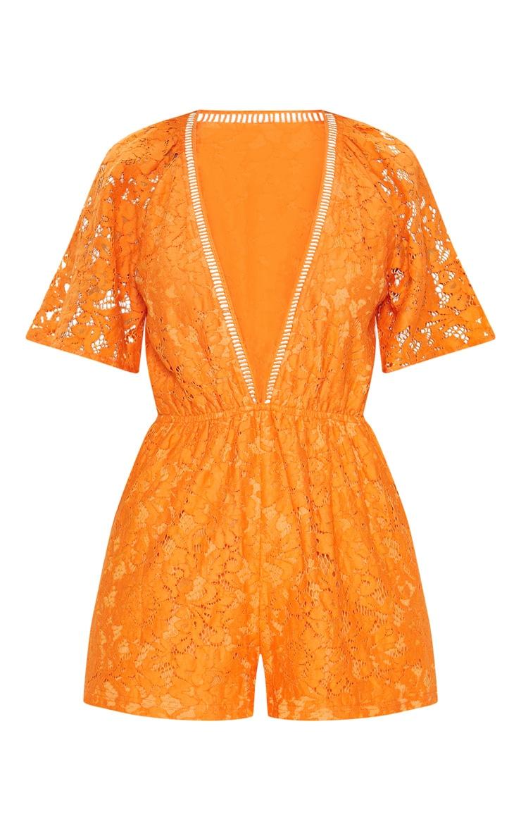 Orange Lace Flared Sleeve Playsuit 2
