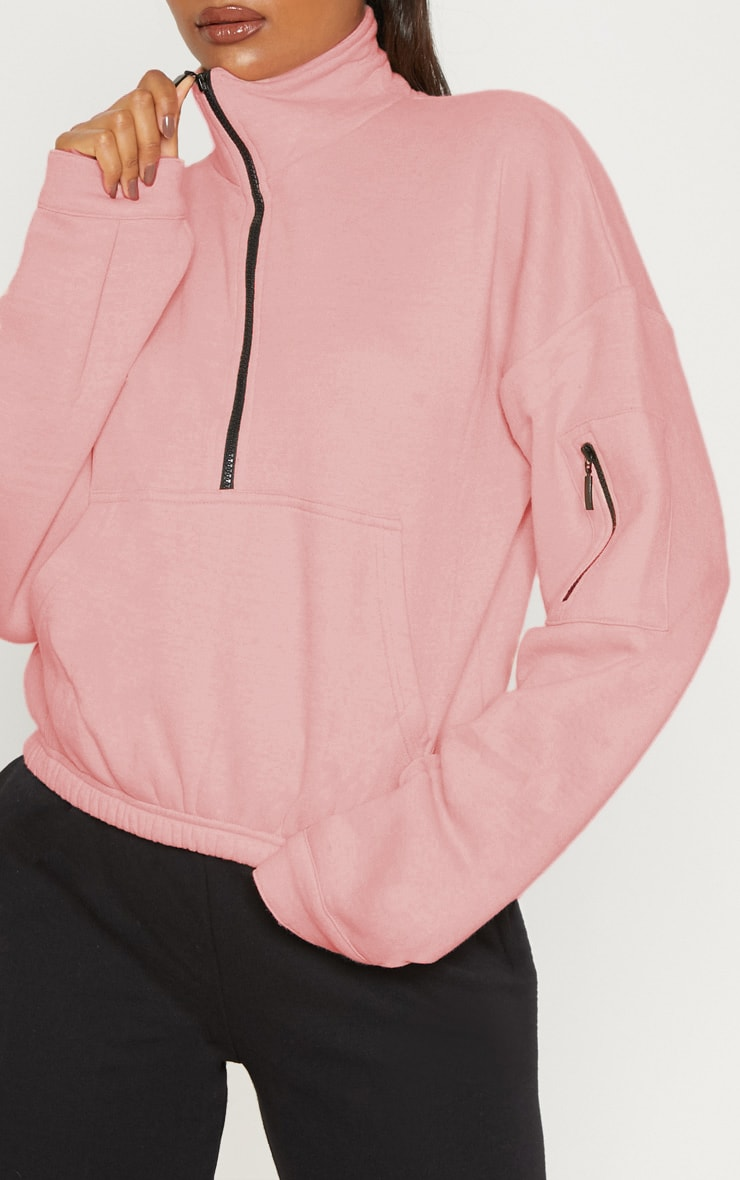 Dusty Pink Oversized Zip Front Sweater 5