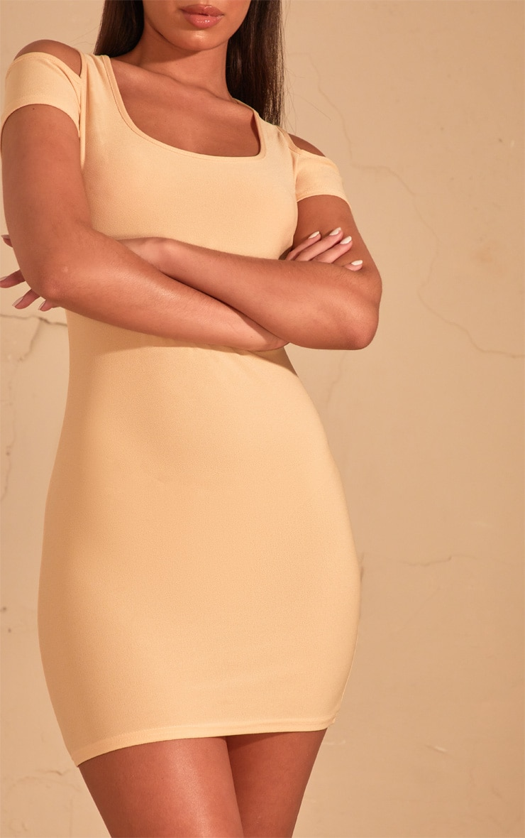 Cream Cold Shoulder Bodycon Dress  5