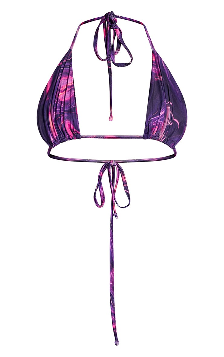 Hot Pink Abstract Print Slinky Triangle Bralet 5