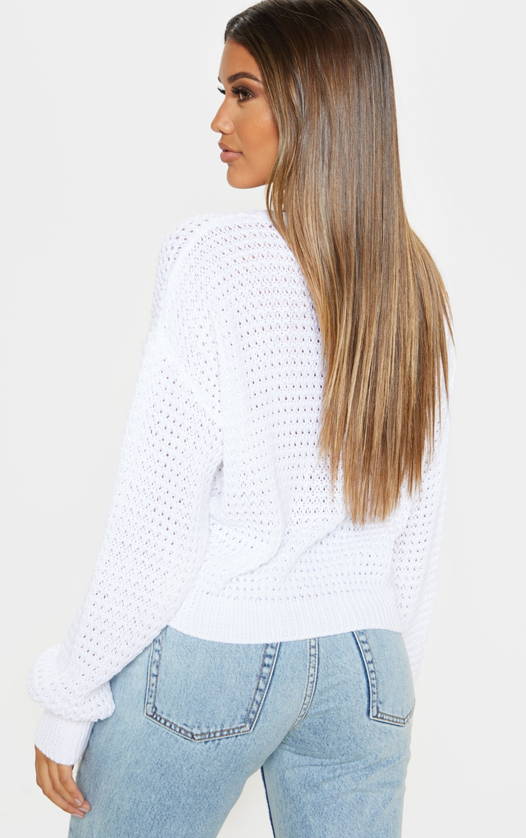 White Fisherman Knitted Jumper 2