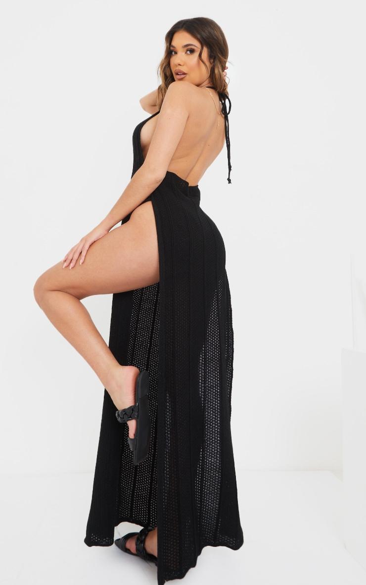 Black Crochet Halter Neck Side Split Maxi Dress 2