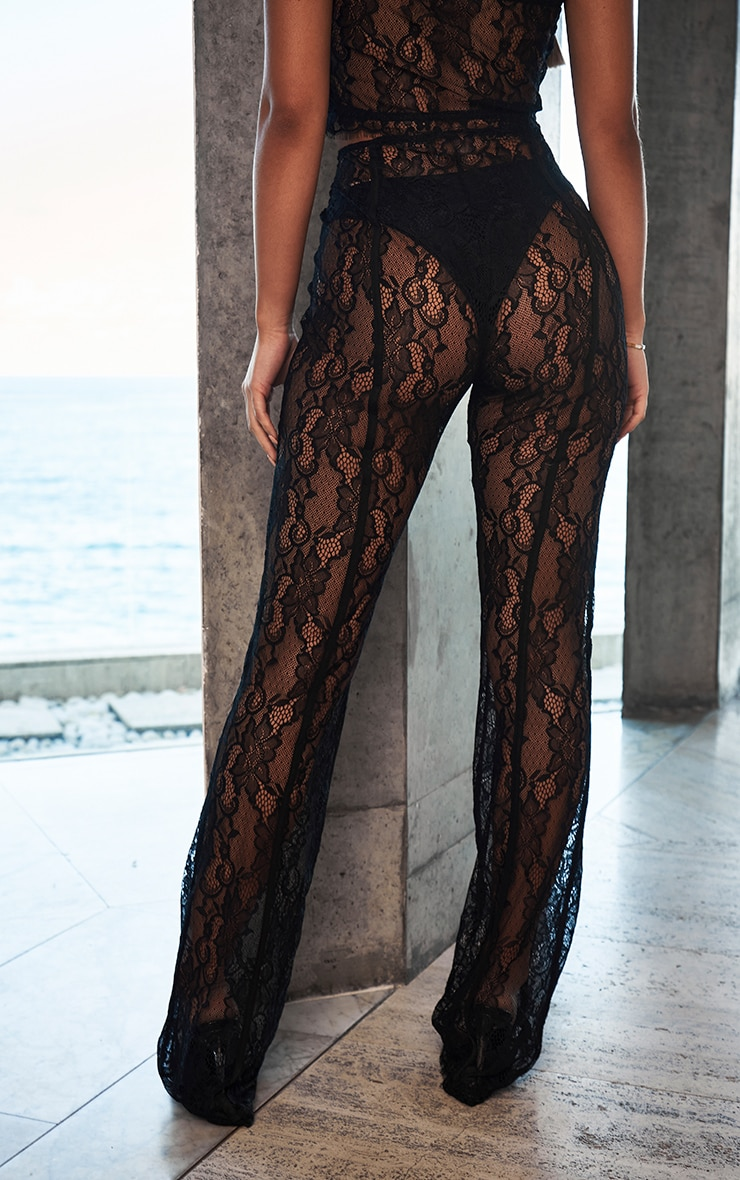 Black Sheer Lace Flared Trousers 3