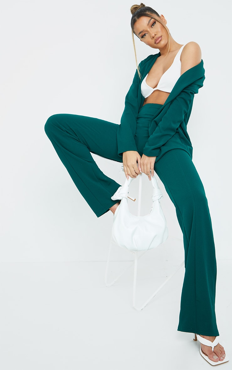 Teal Crepe Seam Front Wide Leg Trousers 1