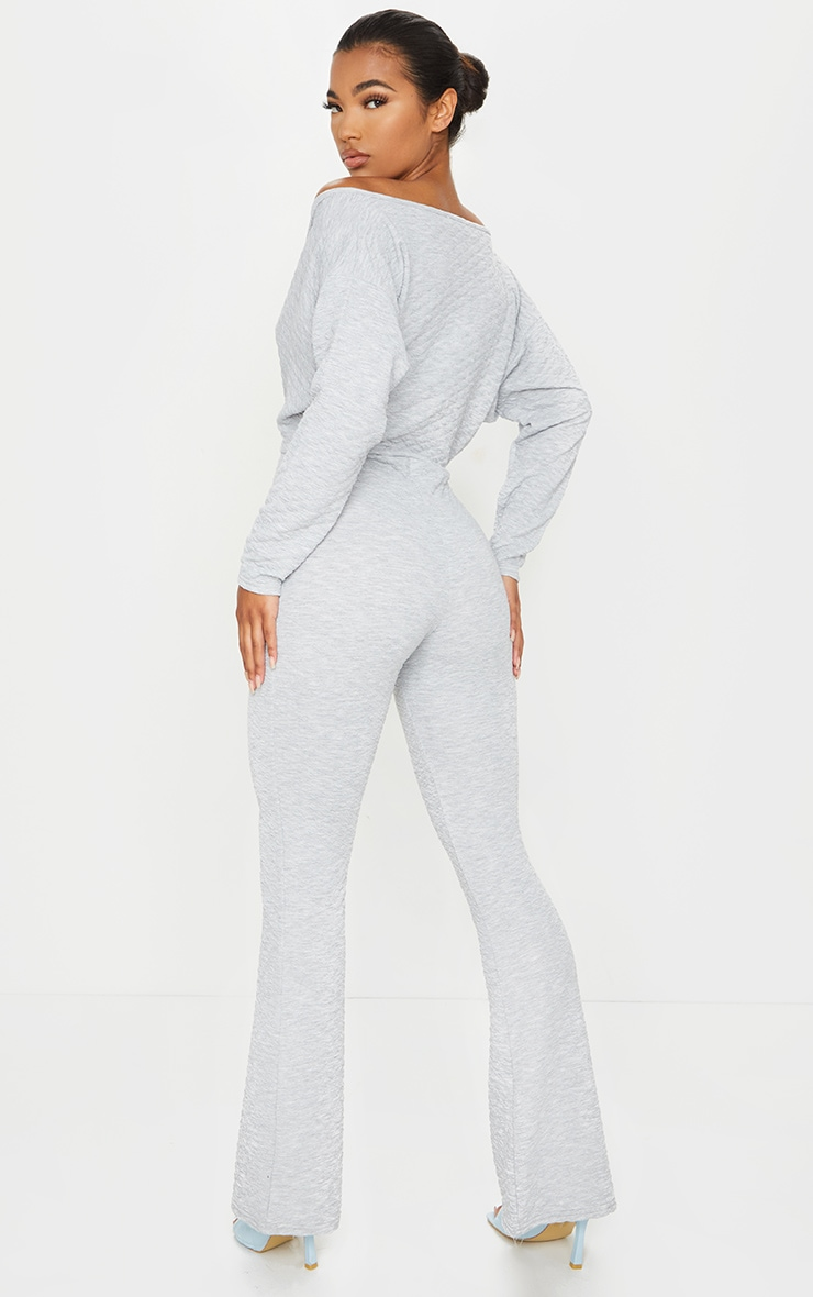 Grey Off Shoulder Wrap Waffle Jumpsuit 2