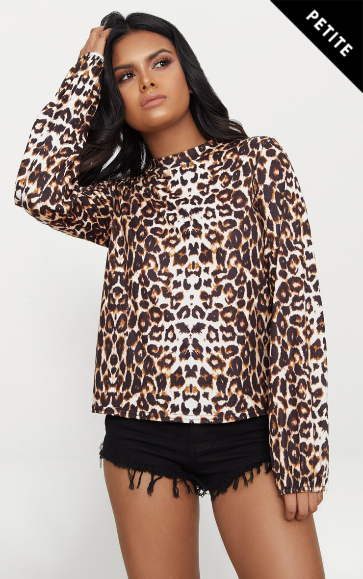 Petite Brown  High Neck Leopard Print Top 1