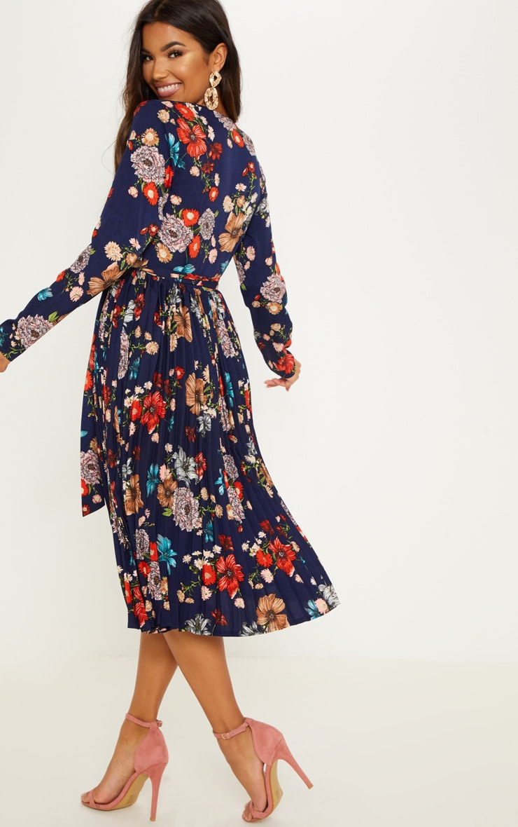 Navy Floral Long Sleeve Pleated Midi Dress 2