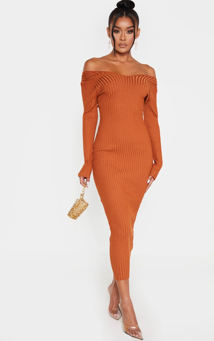 Rust Off Shoulder Rib Knitted Midaxi Dress 1