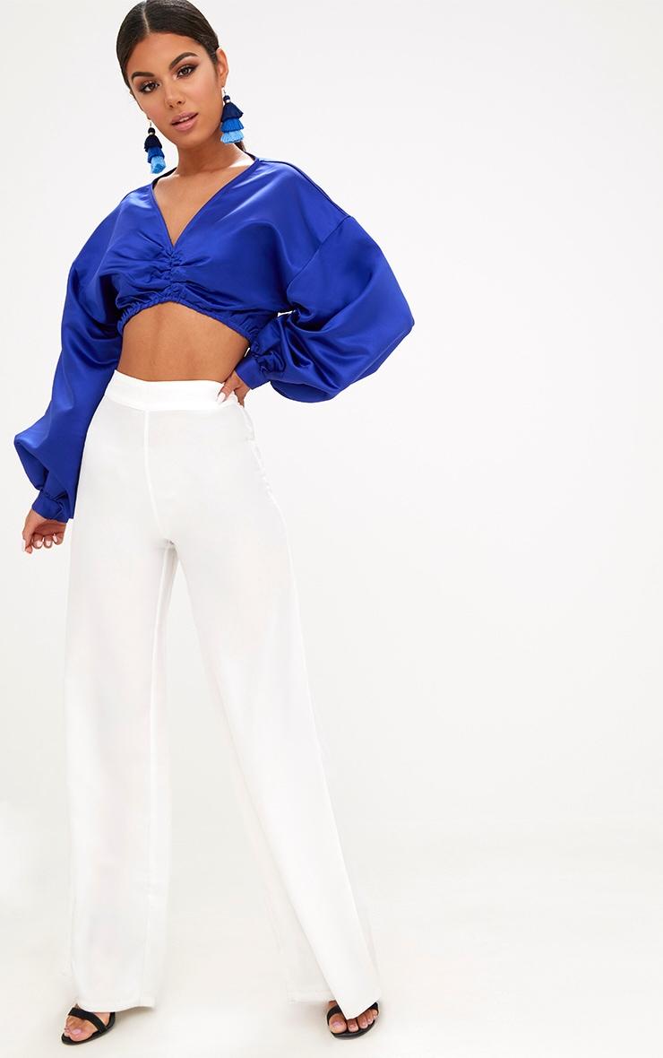 Blue Balloon Sleeve Satin Bardot Crop Top 4