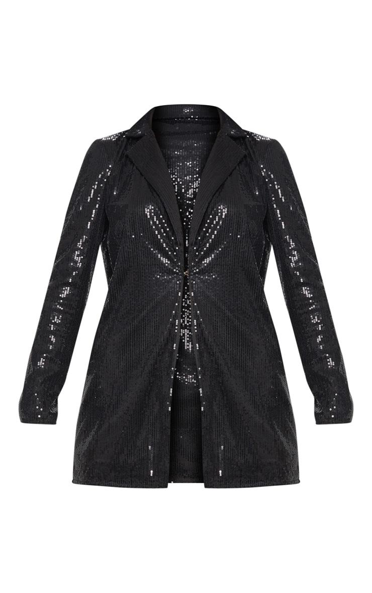 Black Sequin Longline Blazer 3