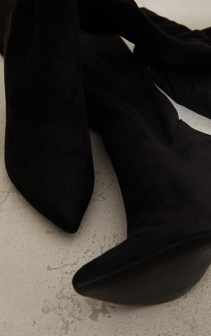 Black Wide Fit Point Toe Over The Knee Boots 4