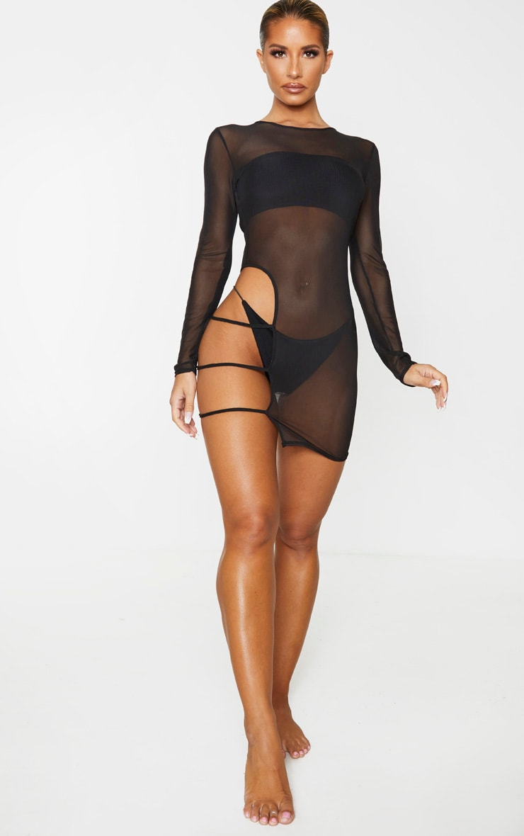 Black Cut Out Thigh Mesh Beach Dress 6