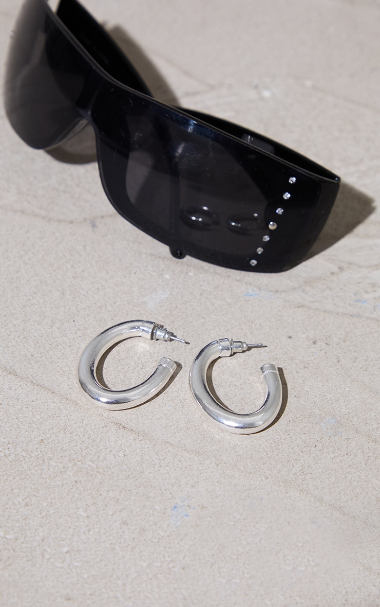 Silver Chunky Oval Hoop Earrings 2