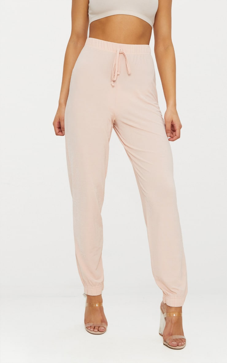 pantalon de jogging taille haute rose p le pantalons prettylittlething fr. Black Bedroom Furniture Sets. Home Design Ideas