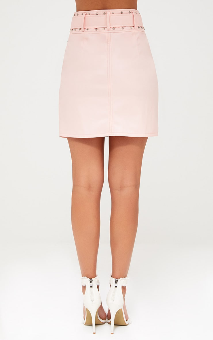 Pink Faux Leather Stud Detail Belted Mini Skirt 4