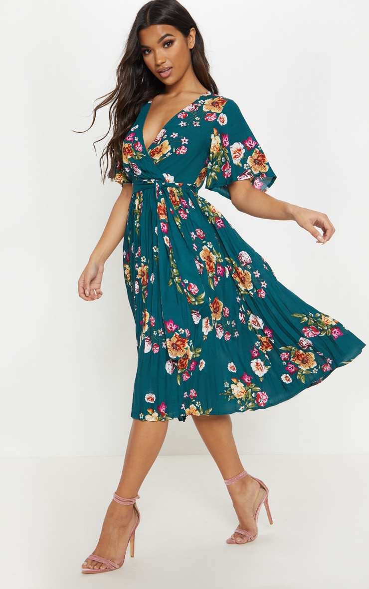 Emerald Green Floral Pleated Midi Dress 4