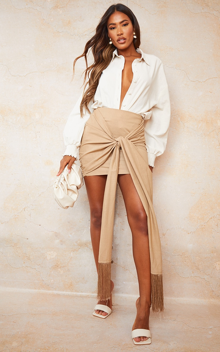 Sand Linen Feel Ruched Bum Extreme Tie Detail Mini Skirt 1