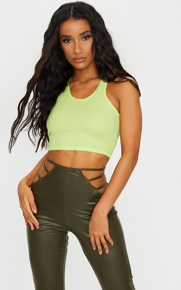 Lime Green Rib Racerback Crop Top 1
