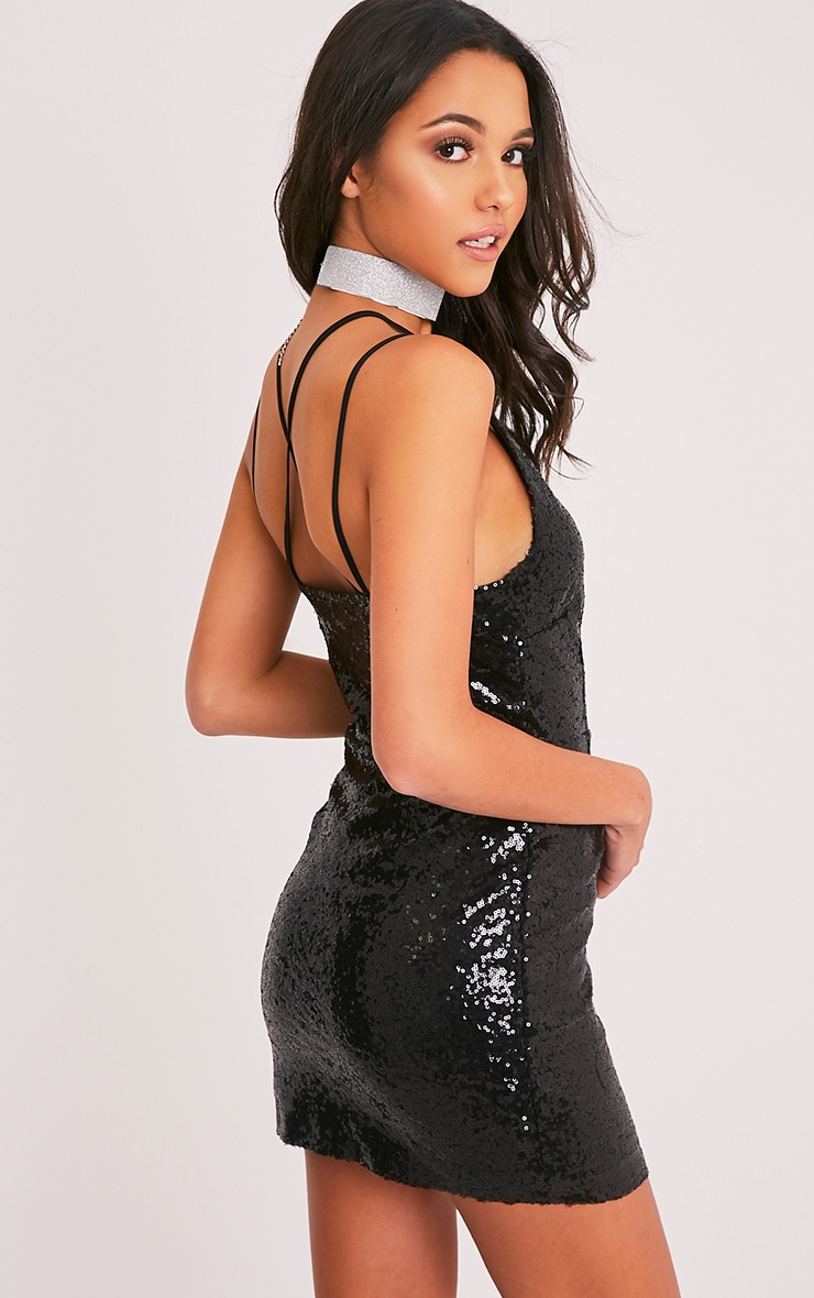 Lakyla Black Sequin Strap Detail Shift Dress 4