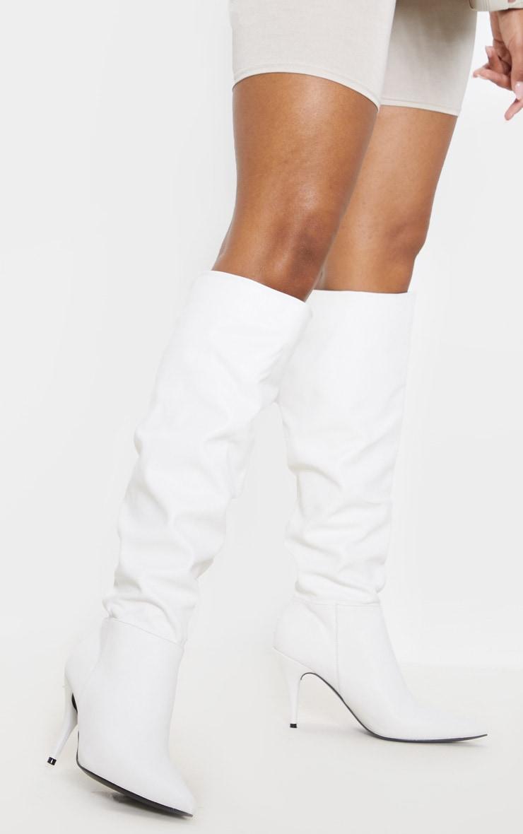 White Mid Heel Knee Boot 1