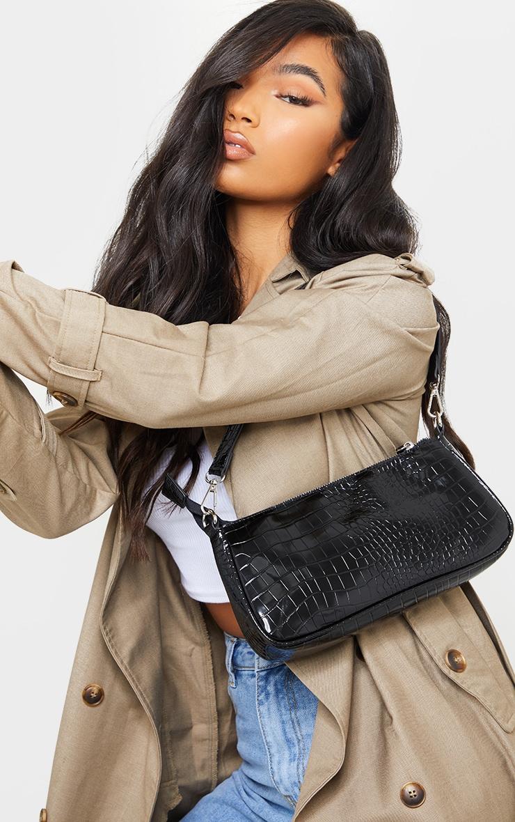 Black Croc Shoulder Bag 1