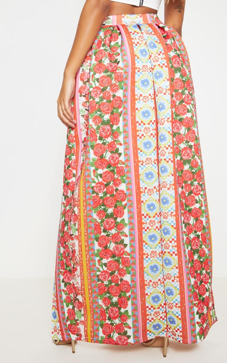 Jupe longue rouge en néoprène à imprimé floral 4