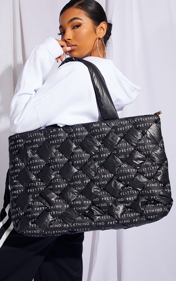 PRETTYLITTLETHING Black Woven Tote Bag 1