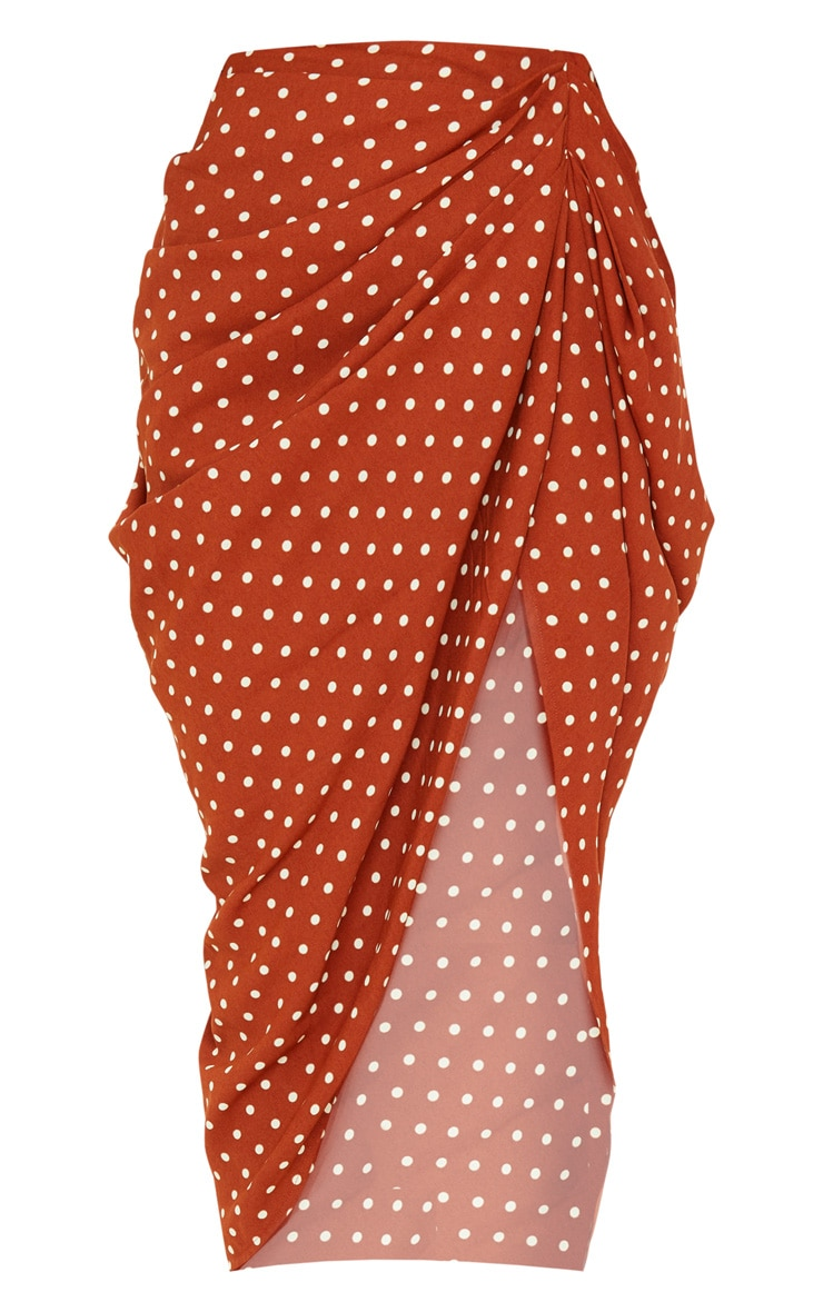 Terracotta Polka Dot Split Side Midi Skirt 3