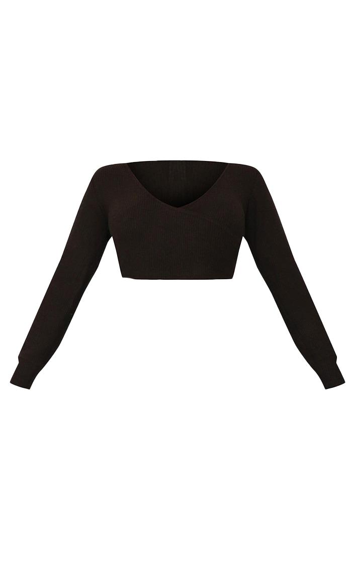 Petite Black Wrap Over Long Sleeve Brushed Rib Crop Top 5