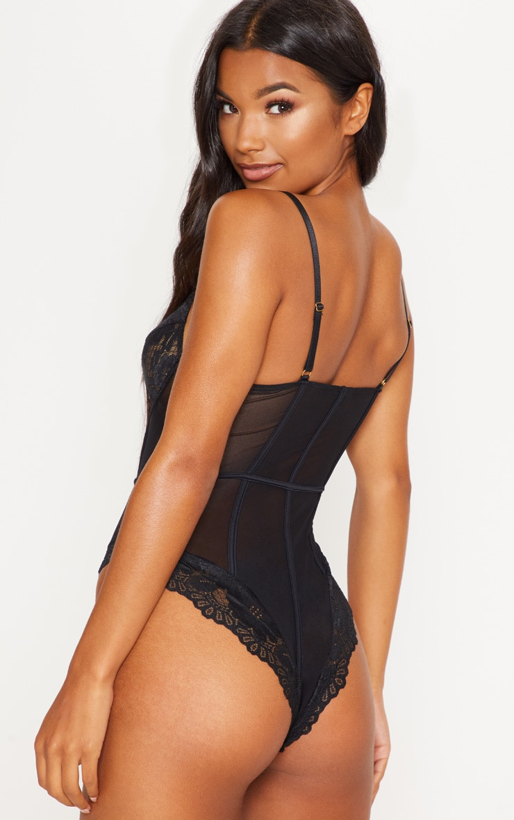 Black Underwired Cage Detail Lace Body 2