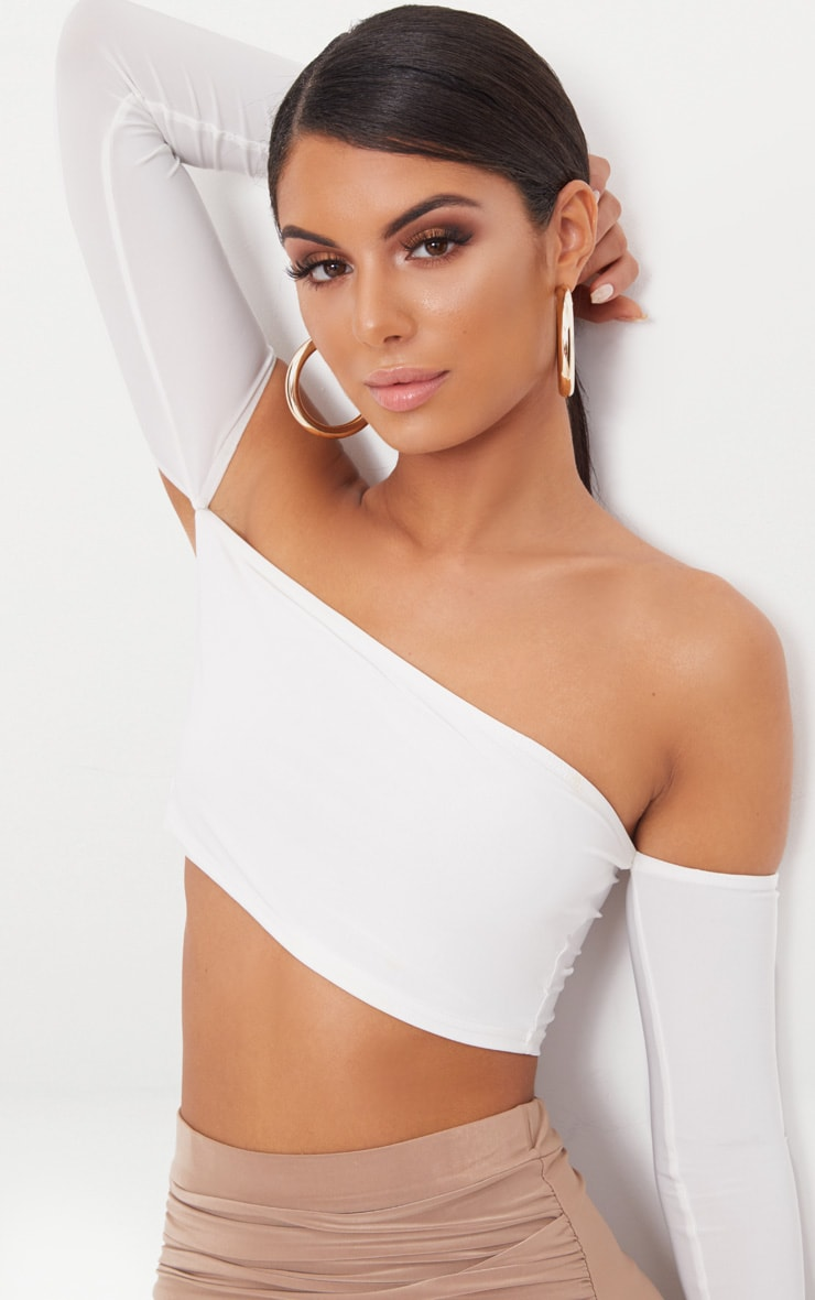 White Slinky Bardot Long Sleeve Crop Top 5