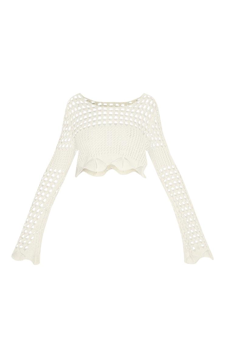 Cream Crochet Long Sleeve Top  3