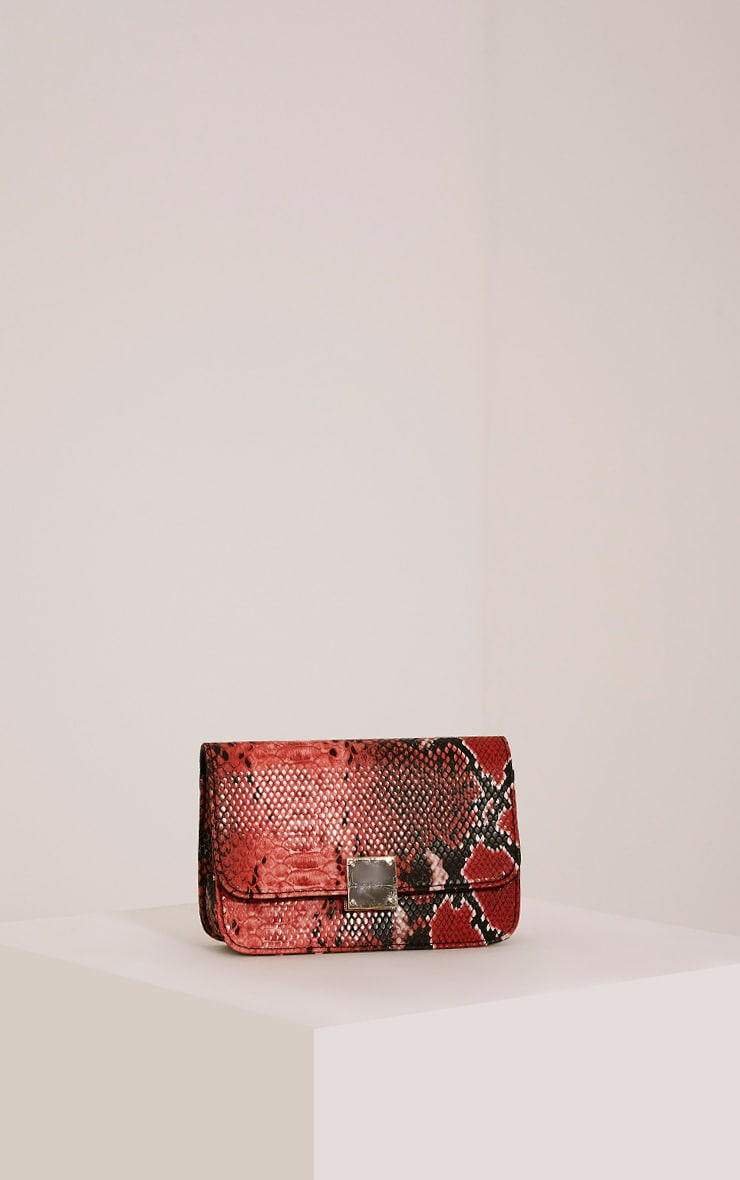 Harriet Red Snake Print Shoulder Bag 1