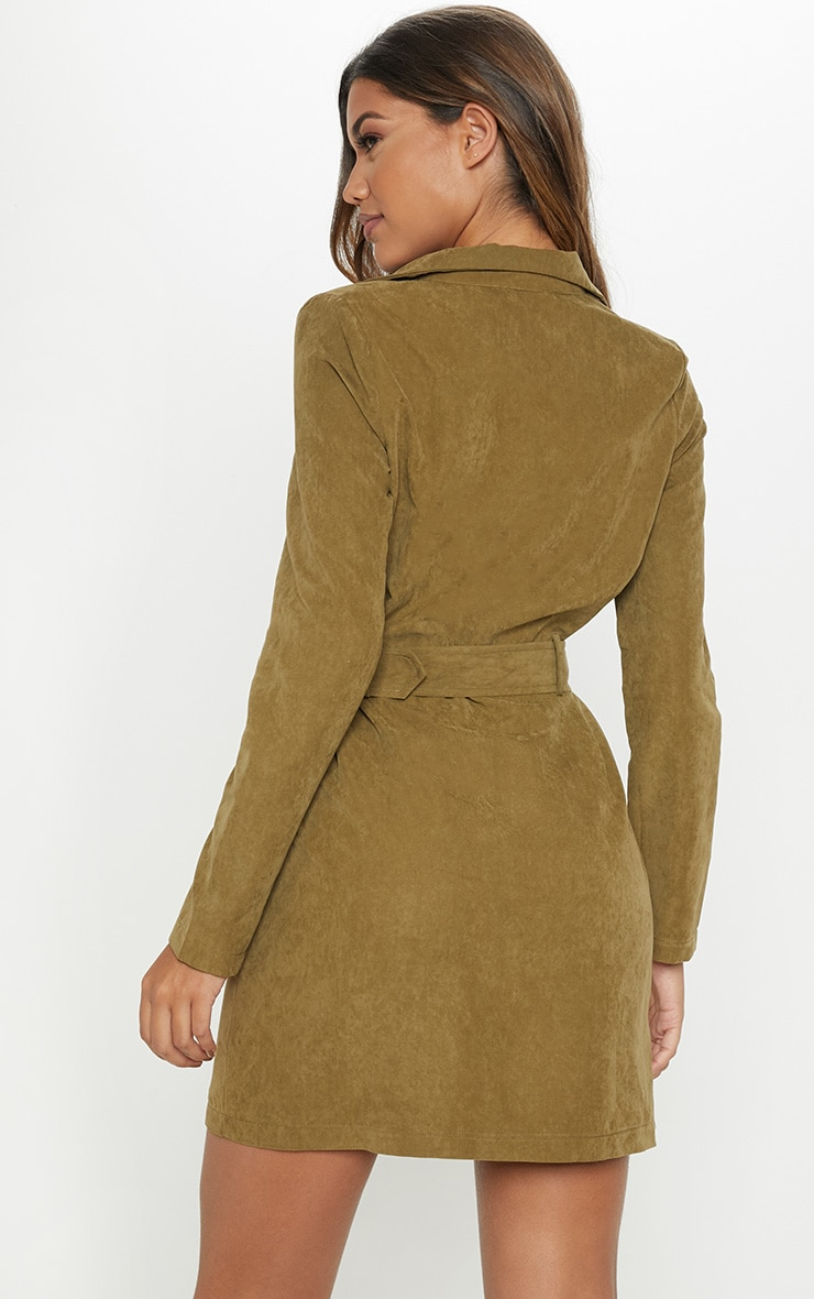 Khaki Faux Suede Button Front Belted Cargo Dress 2
