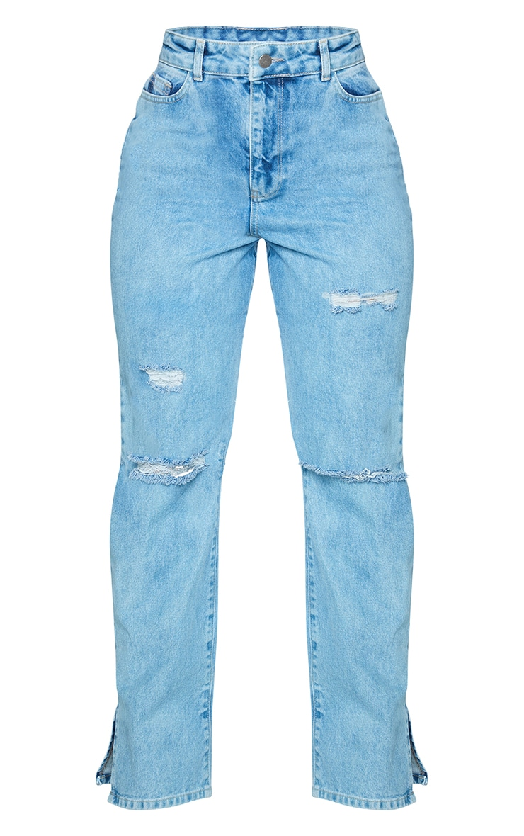 PRETTYLITTLETHING Shape Light Blue Wash Wide Leg Ripped Split Hem Jeans 5