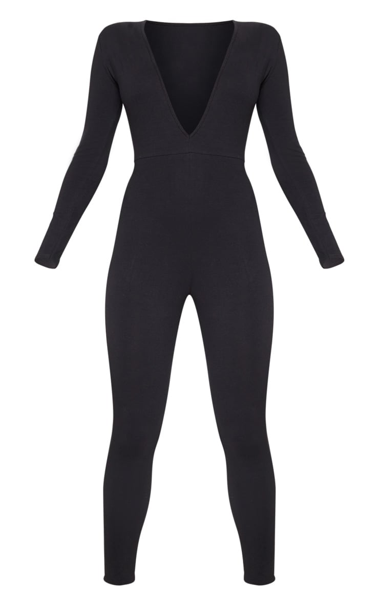 Black Cotton Elastane Long Sleeve Jumpsuit 3