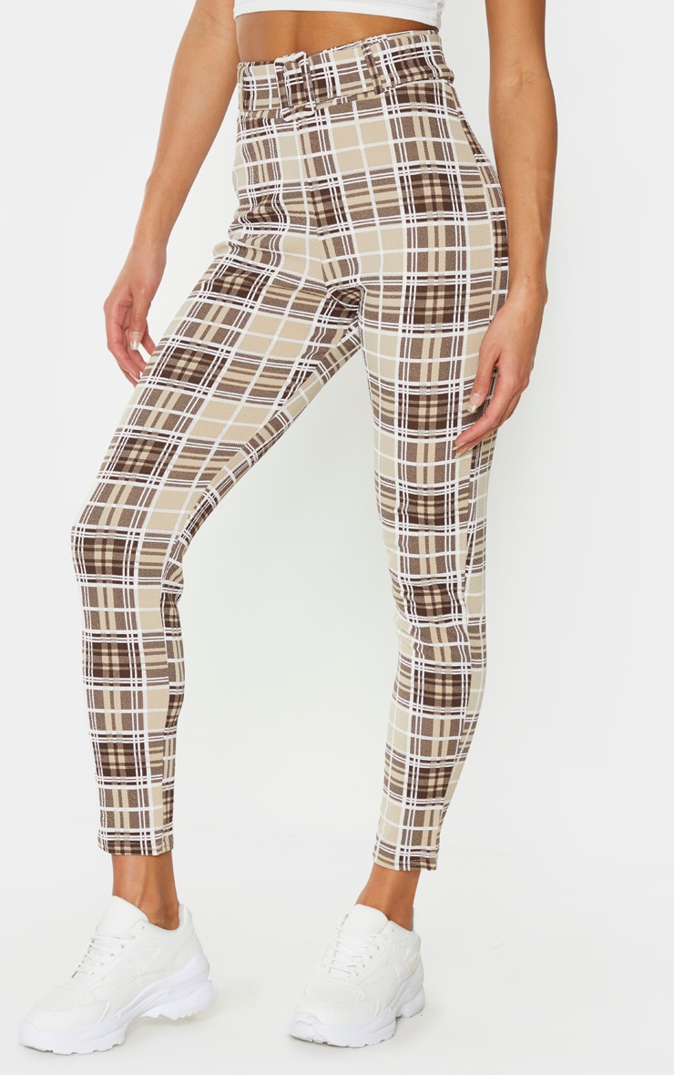 Stone Check Belted Skinny Trousers 2