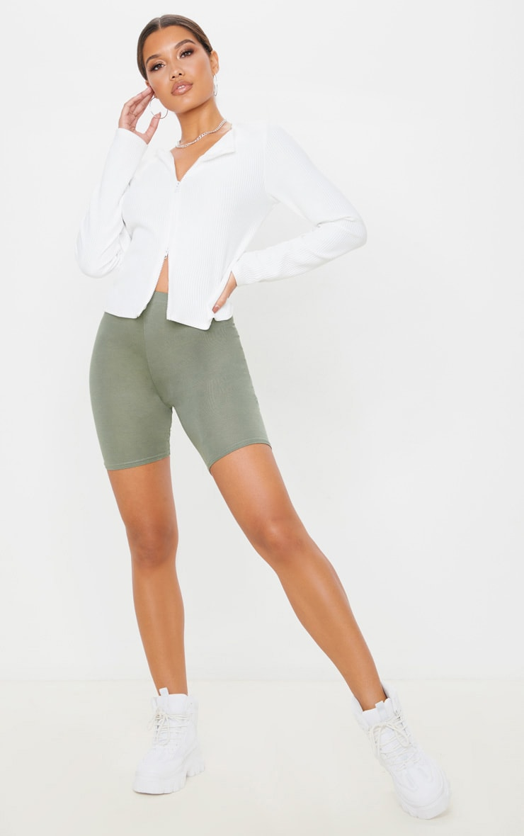 Pale Khaki Basic Bike Short 1