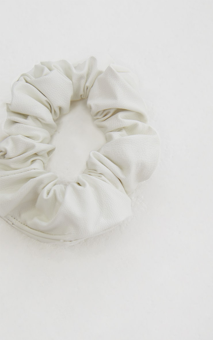 White PU Scrunchie 1