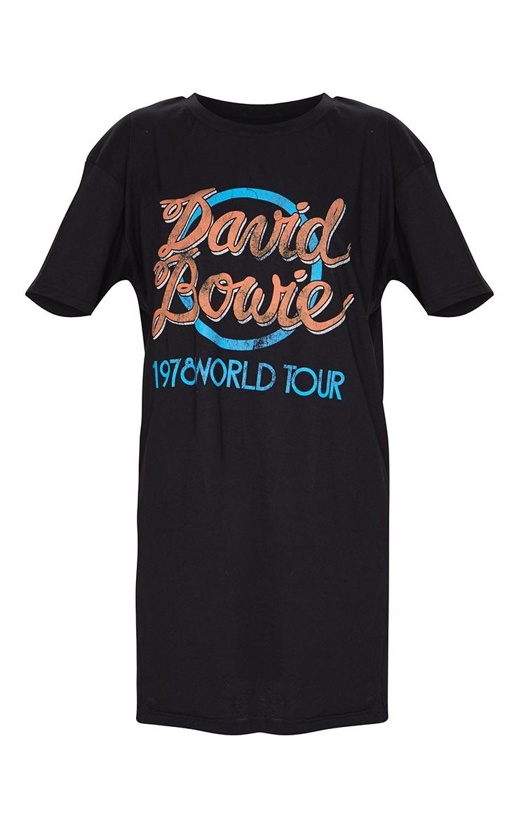 Black David Bowie Slogan T Shirt Dress 4
