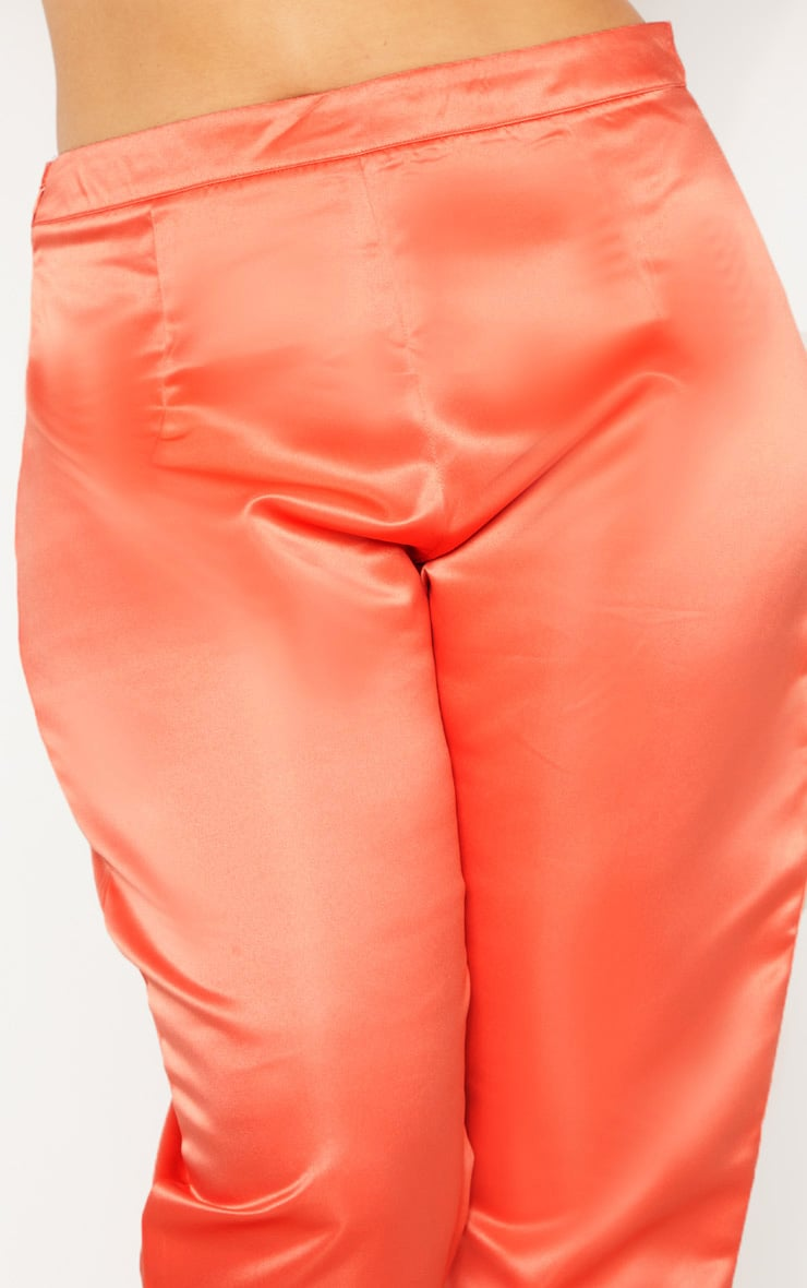 Plus Peach Tailored Satin Straight Leg Trouser  5