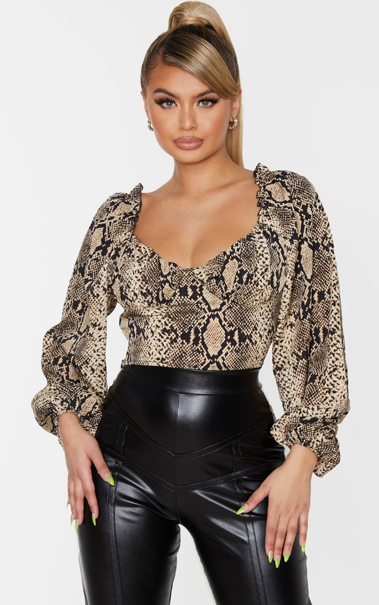 Nude Snake Woven Cup Detail Long Sleeve Crop Top 1
