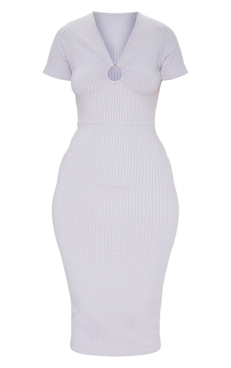 Grey Ribbed Short Sleeve Ring Detail Midi Dress 3