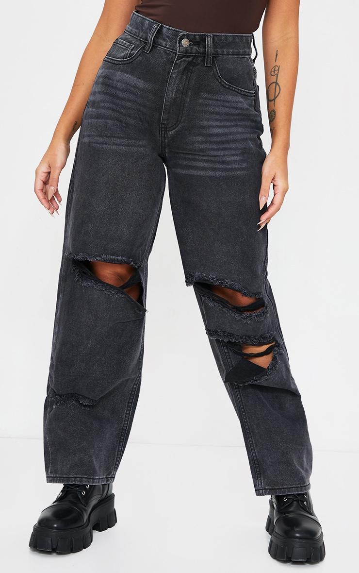 Petite Black Baggy Low Rise Distressed Boyfriend Jeans 2